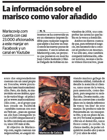 Articulo de MariscoVip.com Marisco a Domicilio